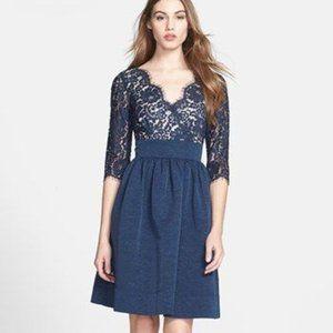 Eliza J Navy Blue Empire Waist Faille Lace Dress 2